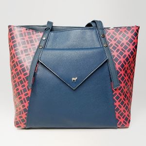 Red and Navy Blue Tote Bag